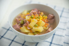 Potato Soup with ham, peas Stock Photos