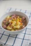 Potato Soup with ham, peas Royalty Free Stock Photo
