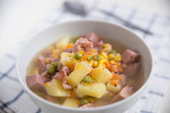 Potato Soup with ham, peas Royalty Free Stock Images