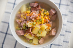 Potato Soup with ham, peas Royalty Free Stock Image