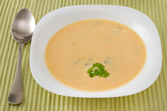Potato soup in the plate Stock Photo