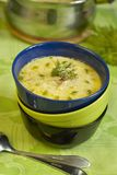 Potato soup with smoked cod. And milk Royalty Free Stock Images