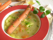 Potato soup with wiener sausage Royalty Free Stock Photography