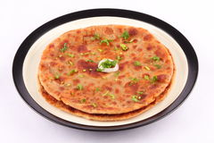 Potato and spices filled Aloo paratha Royalty Free Stock Images
