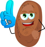 Potato sports fan with glove Stock Image