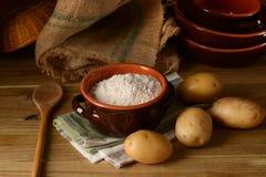 Potato starch in terracotta bowl. Closeup stock images