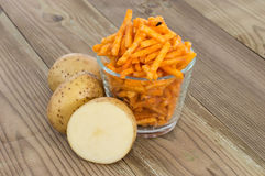 Potato Sticks with fresh Potatoes stock image