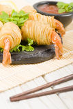 Potato String Prawns Stock Photos