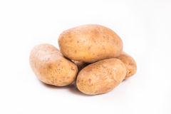 Potato in studio. Some ripe raw potatoes isolated on white in studio royalty free stock image