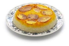Potato tahdig, iranian rice dish. Isolated on white background Stock Image