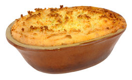 Potato Topped Pie In Old Earthenware Dish Royalty Free Stock Images