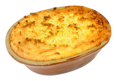 Potato Topped Pie In Old Earthenware Dish Stock Photo