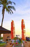 Potato tower cheers to sunset stock photos