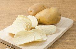 Potato Tuber and Potato Chips or Crisp Stock Images