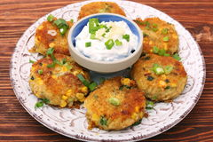 Potato and tuna patties Stock Photos