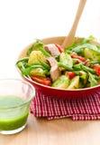 Potato and tuna salad. With pesto dressing stock image
