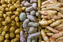Potato Varieties in Baskets Stock Photos