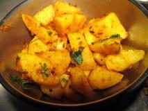 Potato vegetable. This is photo of indian dish -Jeera potato stock photo