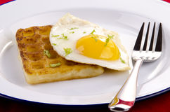 Potato waffle with fried egg Stock Photo