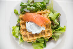 Potato Waffle with salmon Stock Photos