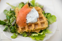 Potato Waffle with salmon Royalty Free Stock Photo