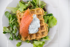 Potato Waffle with salmon Stock Image
