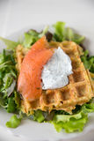 Potato Waffle with salmon Stock Images
