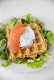Potato Waffle with salmon Royalty Free Stock Image