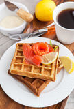 Potato waffles with salted salmon Royalty Free Stock Photos