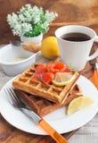 Potato waffles with salted salmon Stock Photos