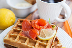 Potato waffles with salted salmon Royalty Free Stock Photography