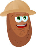 Potato wearing scout or explorer hat Stock Photos