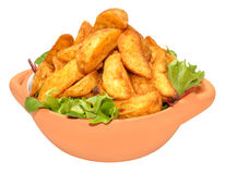 Potato Wedges In Bowl Stock Photos