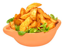 Potato Wedges In Bowl Stock Photo