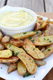 Potato Wedges with Dipping Sauce Stock Images