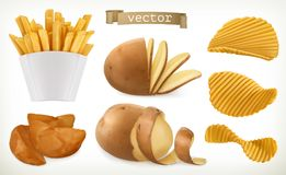 Potato, wedges and fry chips. Vegetable. vector icon set. Potato, wedges and fry chips. Vegetable. 3d vector icon set vector illustration