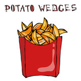 Potato Wedges in Paper Box. Fried Potato Fast Food in a Red Package. Realistic Hand Drawn Doodle Style Sketch.Vector Royalty Free Stock Images