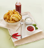 Potato Wedges And Sour Cream Royalty Free Stock Photography