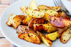 Potato Wedges With The Peel In Spices Royalty Free Stock Image