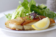 Potato Wrapped Cod. With a lemon wedge Royalty Free Stock Photography