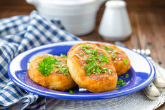 Potato zrazy. With stuff on a plate royalty free stock images