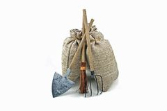 Potatoe bags with tools Stock Images