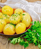 Potatoe boiled with dill and parsley Stock Photography