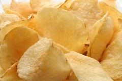 Potatoe chips. Background made from pieces of potato chips Stock Image