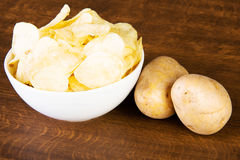 Potatoe chips in a bowl and potatoes. Stock Images