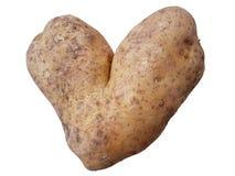 Potatoe na forma de um coração isolado no branco Uma vista engraçada Imagem de Stock Royalty Free