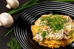 Potatoe pancakes with champignon sauce and dill royalty free stock image