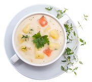 Potatoe Soup isolated on white Stock Image