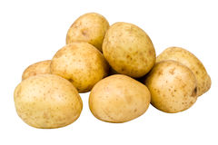 Potatoes. Several ripe spuds insulated on white background Stock Photos