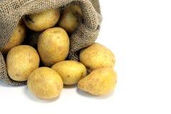 Potatoes. In a jute bag Royalty Free Stock Image